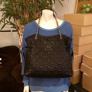 Tory Burch Quilted Leather Marion Slouchy Tote Bag